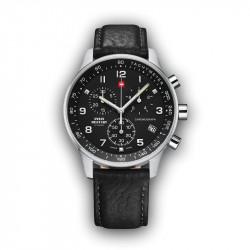 Muški Swiss Military Chrono Quartz Chronograph Crni Srebrni Sportsko Elegantni Ručni Sat Crnim Kožnim Kaišem