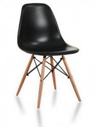 Plastična trpezarijska stolica CHARLIE MAT - Crna