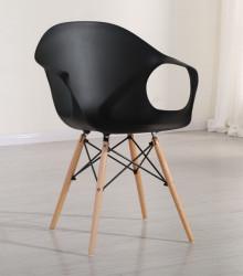 Plastična trpezarijska stolica D-02 - Crna