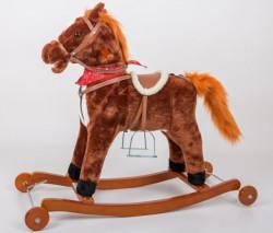 Plišani veći konjić klackalica + dodatak točkići - Braon ( 018W )