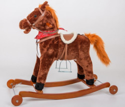 Plišani veći konjić klackalica + dodatak točkići - Braon