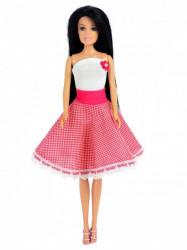 Roze suknja na tufne i beli bodi -pun krug ( SET-07 )