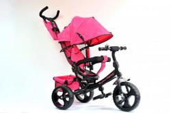 Tricikl Guralica 417 Comfort sa podesivim naslonom i tendom od lanenog platna - Pink