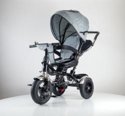 Tricikl Guralica Playtime AM 418 LUX lanena tenda - rotirajuće sedište - Sivi