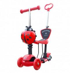 Trotinet 5u1 za decu sa sedištem i svetlećim točkovima Model 652 - Crveni