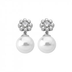Ženske Majorica Exquisite Bele Srebrne Biserne Mindjuše Sa Kristalima 10 mm