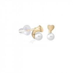 Ženske Majorica Pearl Heart Bele Biserne Gold Srebrna Mindjuše 4 mm