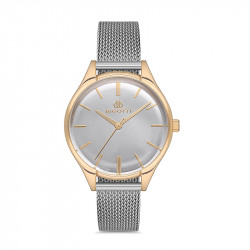 Ženski Bigotti beli zlatni elegantni ručni sat sa srebrnim pancir kaišem