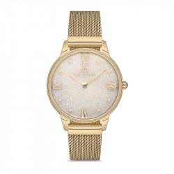 Ženski Bigotti beli zlatni elegantni ručni sat sa zlatnim pancir kaišem