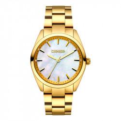 Ženski Breeze Finesse Crystal Beli Zlatni Modni Ručni Sat Sa Zlatnim Metalnim Kaišem
