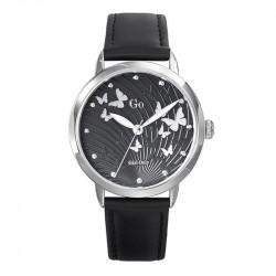 Ženski Girl Only Envole moi Leptir Crni Modni ručni sat sa crnim kožnim kaišem