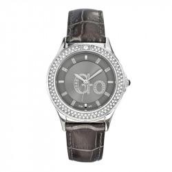 Ženski Girl Only Go Cristaux Sivi Modni ručni sat sa sivim kroko kožnim kaišem