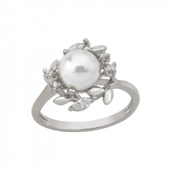 Ženski Majorica Romance Beli Biserni Srebrni Prsten Sa Kristalima 8 mm 55 mm