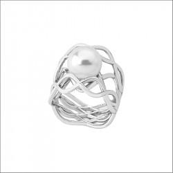 Ženski Majorica Timeless Srebrni Beli Biserni Prsten 10mm 55 mm