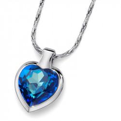 Ženski Oliver Weber Heart Bermuda Blue Lančić sa swarovski plavim kristalnim priveskom
