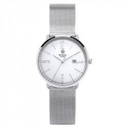 Ženski Royal London Iconic Datum Srebrni Elegantni ručni sat sa pancir metalnim kaišem