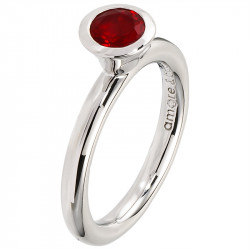 Amore Baci srebrni prsten sa jednim Crvenim swarovski kristalom 53 mm