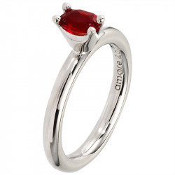Amore Baci srebrni prsten sa jednim crvenim swarovski kristalom 54 mm