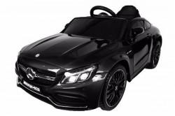 Automobil 246/1 sa kožnim sedištem i mekim gumama za decu - Metalik crni