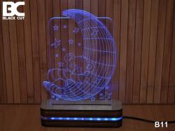 Black Cut 3D Lampa jednobojna - Mesec i meda ( B11 )