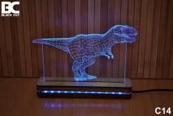 Black Cut 3D Lampa jednobojna - Tiranosaurus ( C14 )