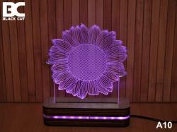 Black Cut 3D Lampa sa 9 različitih boja i daljinskim upravljačem - Cvet ( A10 )
