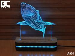 Black Cut 3D Lampa sa 9 različitih boja i daljinskim upravljačem - Ajkula ( A001 )