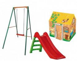 Dečiji komplet za dvorište ( Happy Kids ) Ljuljaška + Tobogan + Šator kućica