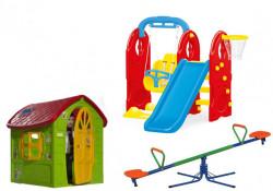 Dečiji komplet za dvorište ( Veliki SET 2 ) Kućica + Set 4u1 + Klackalica
