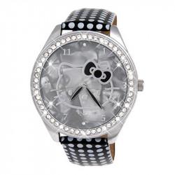 Dečji Hello Kitty Kristal Sivi ručni sat sa tufnastim kožnim kaišem