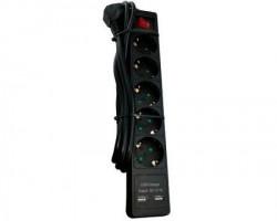 E-Green Kabl naponski produžni 5 x šuko + 2xUSB 2m sa prekidacem i zaštitom (crni)