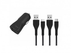 Energizer Hardcase Car Charger 2USB+ 2 Cables (Micro+USB-C) Black LifeTime garancija ( DC2BLCMM )