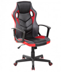 Gejmerska stolica 9802 od eko kože Crveno-Crna