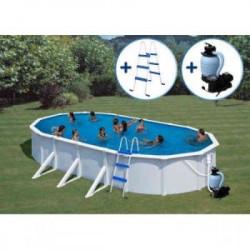 GRE Ovalni porodični bazeni sa čeličnom konstrukcijom - set 6,1x3,75x1,2 m (skimer, uduvač, merdevine, peščani filter) ( 0026802 )