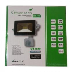 GreenTech 10W reflektor + senzor pokreta 6000K 750LM 230V ( RS10CG/Z )