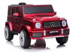 Mercedes G63 Licencirani Džip na akumulator sa kožnim sedištem i mekim gumama - Crveni