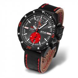 Muški Vostok Europe Almaz Crni Hronograf ručni sat sa crnim kožnim kaišem