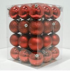 Novogodišnji set ukrasnih kuglica 36kom - Crveni ( 19001 )