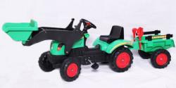 Traktor 05 na pedale sa prikolicom i kašikom - Zeleni