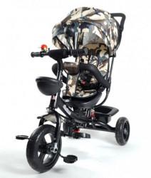 Tricikl Guralica Playtime Army 406-1 sa mekim sedištem - Crni ram