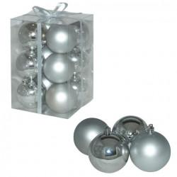 Ukrasne kuglice 8cm 12kom srebrne ( 51-401000 )