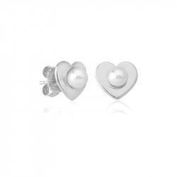 Ženske Majorica Pearl Heart Bele Biserne Srebrna Mindjuše 5 mm