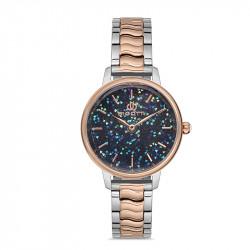 Ženski Bigotti plavi srebrni elegantni ručni sat sa bikolor metalnim kaišem