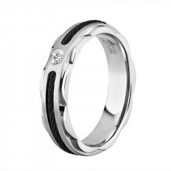 Ženski Lotus Style Steel Rings Sajla Crni prsten od hirurškog čelika 52