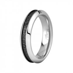 Ženski Lotus Style Steel Rings Uži Staklo Crni prsten od hirurškog čelika 52