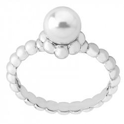 Ženski Majorica Classic Sets Beli Biserni srebrni prsten 7 mm 53 mm