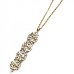 Ženski Oliver Weber Sparkle Gold Crystal Zlatni Lančić sa swarovski belim kristalnim priveskom