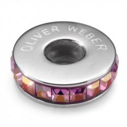 Ženski Oliver Weber Stopper Steel lilac Shadow privezak sa swarovski roze kristalom za narukvicu