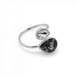 Ženski Victoria Cruz Essential Double Black Diamond Prsten Sa Swarovski Crnim Kristalom