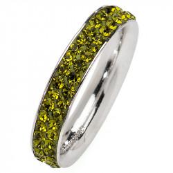 Amore Baci srebrni prsten sa zelenim swarovski kristalom 53 mm